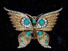 Beautiful Vintage Crown Trifari Turquoise Rhinestone Butterfly Brooch Pin