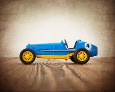 Blue and Yellow No.4 Vintage Race Car