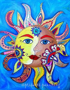 Celestial Sun and Moon Folk Art Painting Original by prisarts, La Luna El Sol Mexican Sun Moon Stars, My Sun And Stars, Art Soleil, Art Fantaisiste, Sun Painting, Painting Canvas, Sun Art, Arte Popular, Naive Art