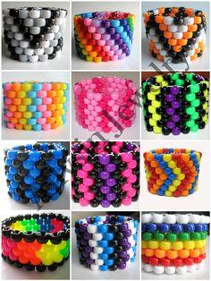 Custom Kandi Cuff, create your own rave jewelry, choose colors and patterns - kandi bracelets Pony Bead Patterns, Kandi Patterns, Beading Patterns, Stitch Patterns, Color Patterns, Pony Bead Bracelets, Kandi Bracelets, Pony Bead Jewelry, Beaded Jewelry