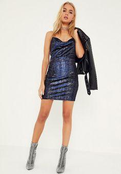 Blue Metallic Velvet Cowl Front Bodycon Dress - Missguided