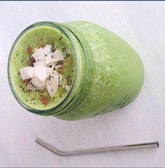Frozen mango + spinach + kale + cinnamon + Chia seeds + vinilla brown rice protein + almond milk + coconut water= best green smoothie