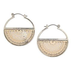 Women's Topshop Half Filigree Hoop Earrings (£11) ❤ liked on Polyvore featuring jewelry, earrings, silver, silver earrings, bohemian earrings, macrame earrings, crochet jewelry and silver jewellery