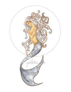art nouveau mermaid original art print by aphotica on Etsy Art Nouveau Tattoo, Tattoo Art, Watercolor Mermaid, Mermaid Art, Tattoo Watercolor, Mermaid Images, Tattoos Mandala, Xoil Tattoos, Octopus Tattoos