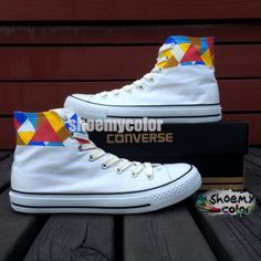 b81531fc66fd Geometric Figure Converse Shoes Hand Painted High Top Canvas Shoes Custom  Converse, Custom Shoes,