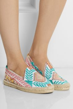 Manebi | Yucatan embroidered canvas espadrilles | NET-A-PORTER.COM