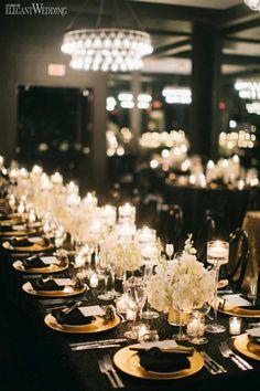 Black and Gold Wedding Table Setting #christmasweddingideas