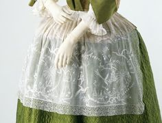 Apron, cotton with whitework embroidery, England (embroidery), Flanders (lace), 1720-40, T.9-1952, ©Victoria and Albert Museum, London