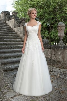 Sincerity Bridal Lace and Tulle Ball Gown with Queen Anne Neckline