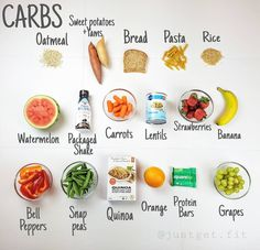 """5,177 Me gusta, 102 comentarios - Nikki - meal preps & workouts (@justget.fit) en Instagram: """"WILL CARBS MAKE ME FAT?  EVERYTHING in this photo is primarily made up of carbs. Most people think…"""""""