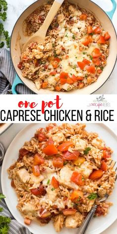 This Caprese Chicken and Rice is made in ONE POT with just a few ingredients and maximum flavor Ready in 30 minutes chicken rice chickenbreast recipe dinner one pot meal one pan meal easy dinner idea chicken breast recipes chicken dinner Pollo Caprese, Caprese Chicken, One Pot Dinners, Easy One Pot Meals, Easy Meals For Dinner, One Pot Rice Meals, Rice Dinners, Healthy One Pot Meals, Dinner Healthy