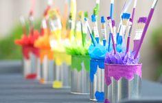 Paint can centerpieces from a Rainbow Paint Party on Kara's Party Ideas KarasPartyIdeas.com (31)