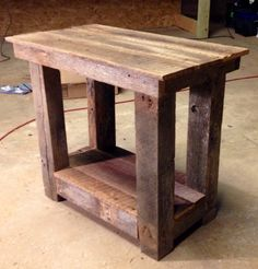 Barn wood end table I built from an old barn in my field