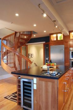 neat idea for wine storage and wine cooler in island--contemporary kitchen by Rossington Architecture
