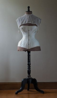 Reserved - Antique, French, dress form wearing victorian corset, Jeanne d'arc living, rare, wasp waist, mannequin or dress form