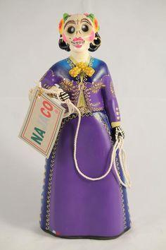 Lupita Doll Charra Catrina Plum Dress Ceramic Mexican Folk Art - Wandering Gypsy