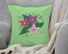 """""""Polštář Vitrážové květy"""" (""""Cushion Stained Glass Flowers"""")   approx. $23 Stained Glass Flowers, Cushions, Throw Pillows, Artwork, Design, Toss Pillows, Toss Pillows, Work Of Art, Auguste Rodin Artwork"""
