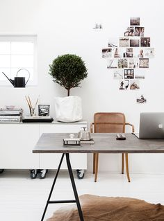 Everything in it's right place in this neat and bright home office. #hardtofind #office #white