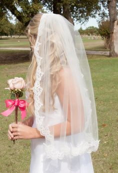 Love this veil! So affordable here too!  wedding veils, lace wedding veils, mantilla veils, veil with lace, bridal veils, drop veils, diy wedding veils