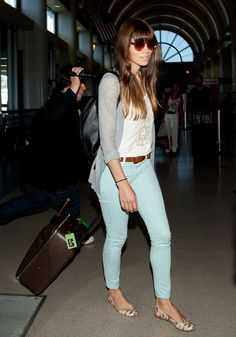 Jessica Biel looks well put together as she arrives at the airport in Los Angeles for her flight