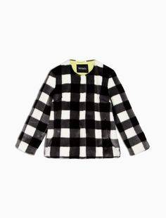 MAX&Co. - Gingham jacket, Black Pattern - Jacket in synthetic material with macro gingham print. Straight, loose cut, hip length. Collarless. Concealed fastening with snap closure. Pockets set into the front. This garment is lined. - Free Shipping and Returns