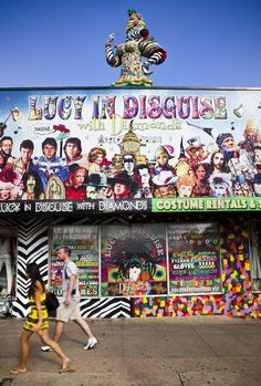 """About a mile south of downtown on South Congress Avenue, you'll spot the fancy costume store """"Lucy in Disguise"""" by the 12-foot zebra dressed like Carmen Miranda on the roof (the zebra's name happens to be Carmen Zebra-Jones). The former """"Electric Ladyland"""" store became incorporated into the current 8,000-square-foot emporium. And if you're wondering about the name: Lucy is the owner's dog, a Border-Collie mix """"who loves to dress up, cover herself in faux diamonds and si"""