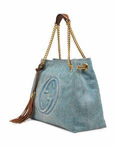 Gucci Soho Medium Blue Denim Tote - Neiman Marcus