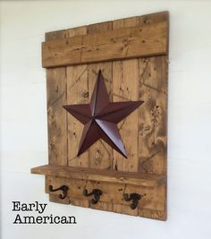 Distressed Wood Wall Shelf, Metal Barn Star, Cast Iron Wall Hook Metal, Farmhouse Wall Decor, Coat R Wall Shelf With Hooks, Wooden Wall Shelves, Wooden Wall Art, Wooden Walls, Pallet Shelves, Farmhouse Wall Decor, Country Decor, Farmhouse Style, Country Crafts