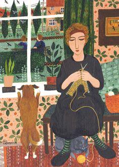 Woman Knitting Indoors, Dog Wanting Outdoors / CB