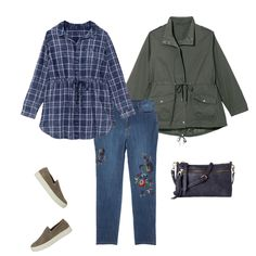 Dip your toes into print mixing by trying embroidered denim with a plaid top! Keep things casual with an anorak jacket and slip on sneakers--perfect for a day out and about with friends and family.