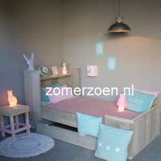 Girls room in blue pink and mint