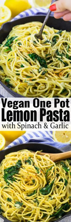 These lemon spaghetti with spinach are the perfect dinner recipe for busy weeknights! I love making one pot meals! They're so easy and comforting. This is one of my favorite vegan dinner recipes! #vegan #veganpasta