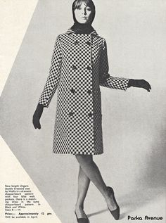 Mod Chequerboard Coat by Ungaro ~ Pop Shop magazine, January 1966