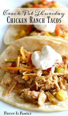 Whip up dinner in no time with this easy Crockpot Chicken Ranch Tacos recipe! Your family will love how this slow cooker meal tastes, and you'll love how quick and easy it is to prepare. Easy Crockpot Chicken, Chicken Recipes, Crockpot Meals, Crockpot Dishes, Chicken Meals, Mini Crockpot Recipes, Slow Cooker Recipes, Cooking Recipes, Healthy Recipes
