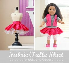 Make a fabric tulle skirt...for dolls and/or decor. www.makeit-loveit.com #decor #diy