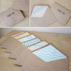 Letterpress Kraft Thank You Cards Set of 6 by lovelystitchdesigns