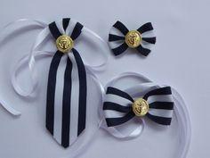 Kit de laço e gravata com medalha de âncora