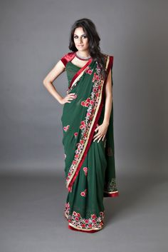 Ever Green Georgette Red Velvet Saree