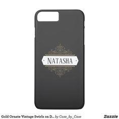 Gold Ornate Vintage Swirls on Dark Gray Monogram iPhone 8 Plus/7 Plus Case