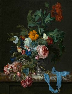 Flower with still life with a watch