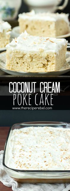 Homemade vanilla cake filled with homemade coconut cream pudding, topped with whipped cream and toasted coconut — the cake for coconut lovers! Make it from scratch or use cake mix or pudding mix to make it quick and easy! www.thereciperebel.com
