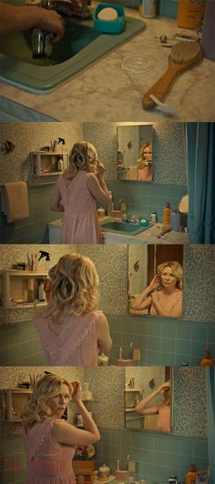 Fargo 'Fear and Trembling' Season 2 , Episode 4 | Pink is definitely Peggy's go-to color. She'll wear it in every outfit and scene in this episode. In this scene, in which Ed constantly talks about the baby he's sure she's going to have (and she's even more sure she's not, thank to her secret birth control pills) the pink plays against the blue surroundings to give the scene a baby shower feel to it.