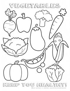 Healthy Vegetables Coloring Page Sheet - printable I Tried Something New healthy eating reward chart, too!
