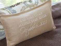 Wedding Pillow /  TanLatte Fabric /  Thread by myvintagemonkey, $62.00