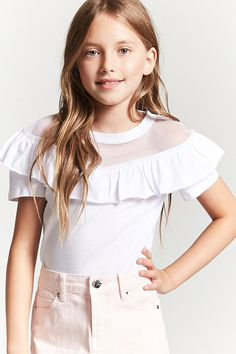 Product Name:Girls Mesh-Yoke Flounce Layer Top (Kids), Category:girls_tops, Cute Spring Outfits, Cute Girl Outfits, Kids Outfits Girls, Girly Outfits, Trendy Outfits, Preteen Girls Fashion, Girls Fashion Clothes, Girl Fashion, Fashion Outfits