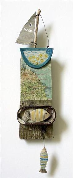 Sailing East Coast - Shirley Vauvelle  earthenware driftwood vintage map: