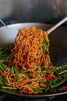 "This recipe for steamed noodles and green beans, or ""bian dou men mian,"" is a home-cooked dish you'll only find on family tables, rather than restaurants. Steaming make this noodles and green beans dish chewy and very satisfying Green Bean Dishes, Green Bean Recipes, Green Beans, Asian Recipes, Healthy Recipes, Ethnic Recipes, Panela Wok, Food Porn, Good Food"