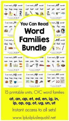 You Can Read Word Families -Free IG Word Family Printables (post ...