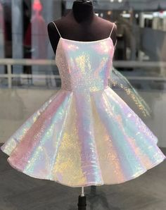 Sparkle spaghetti straps sleeveless homecoming dress cheap a line sequins short mini cocktail dress b Freshman Homecoming Dresses, Cute Homecoming Dresses, Hoco Dresses, Dance Dresses, Cheap Dresses, Sexy Dresses, Casual Dresses, Dresses For Work, Formal Dresses