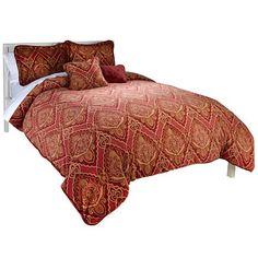 HIGHGATE MANOR 5 Piece Comforter Set, Red Paisley QUEEN #HighgateManor #Charleston